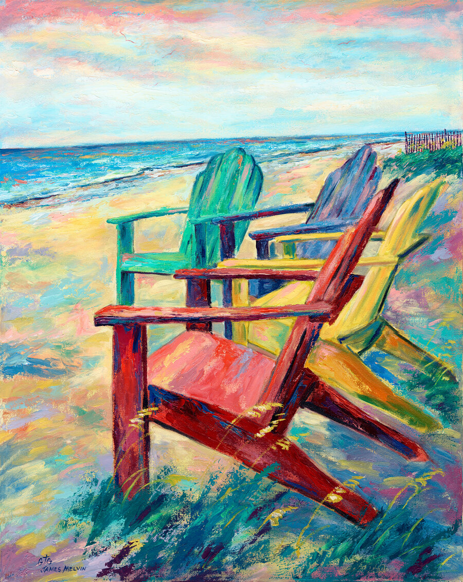Coastal Art by James Melvin, Beach Chairs