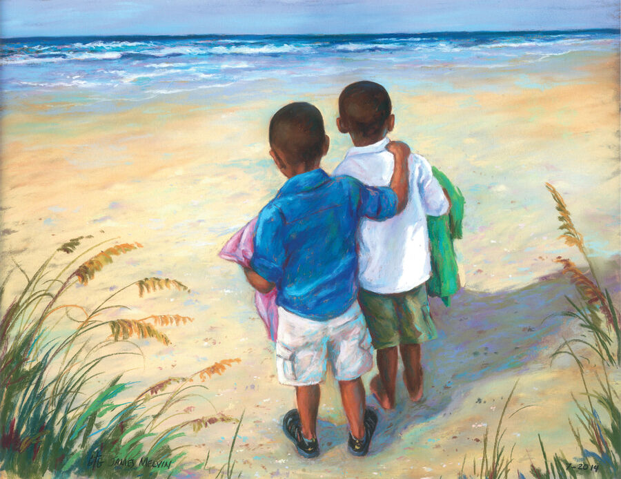 Coastal Art by James Melvin, Boys On Beach 2