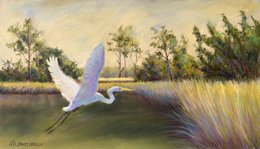 Coastal Art by James Melvin, Egret Haven