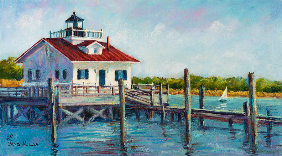 Coastal Art by James Melvin, Roanoke Marshes Light Sailboatt