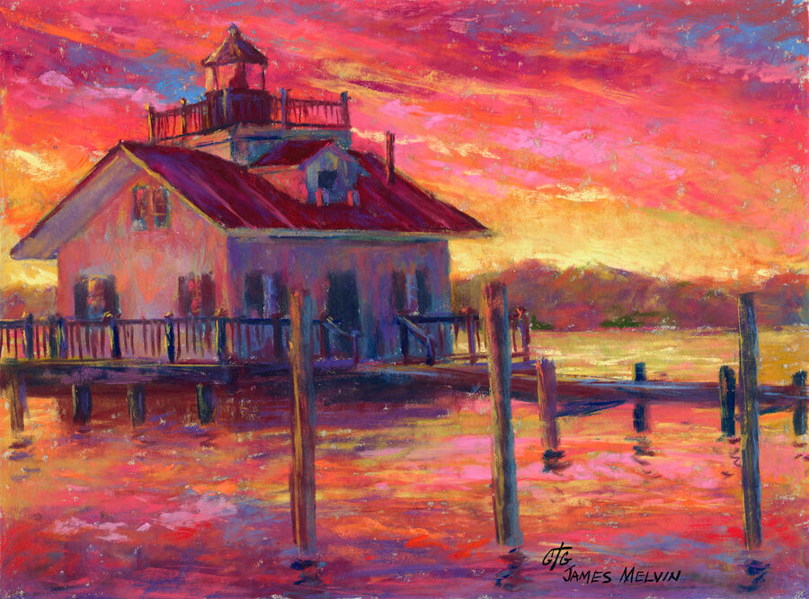 Coastal Art by James Melvin, Roanoke Marshes Light Sunset