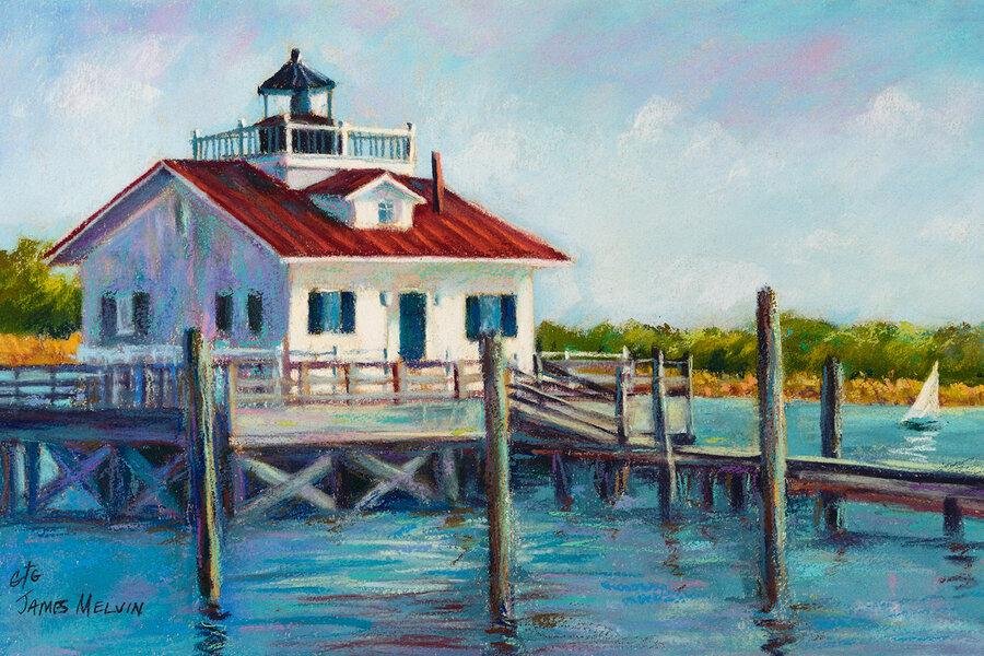 Roanoke Marshes Light Sailboat