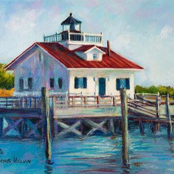 Coastal Art by James Melvin, Roanoke Marshes Light Sailboatt